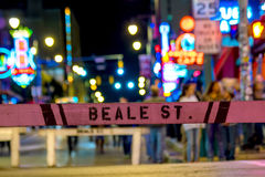 Beale street sign. With blur background in Memphis Stock Image