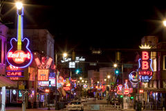 Beale Streetin Memphis céntrica, Tennessee Imágenes de archivo libres de regalías