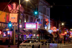 Beale Streetin Memphis céntrica, Tennessee Imagen de archivo libre de regalías
