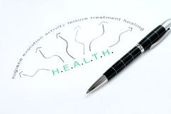 Слово Bealth напечатанное с ручкой Стоковая Фотография RF