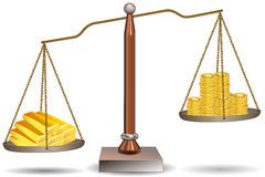 Beam balance with dollar coins and gold bars Stock Image