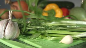 A beam of green onions, dill and parsley. Close-up. Slow motion. stock footage