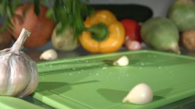 A beam of green onions, dill and parsley. Close-up. Slow motion. stock video footage
