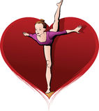 Beam Gymnast in Heart Stock Images