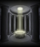 Beam of light. Illustration: in a room inside an ancient temple a beam of magic light comes from an opening on the ceiling Royalty Free Stock Photography