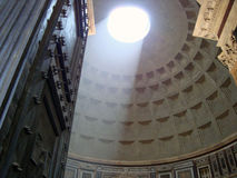 Beam of light. Inside the dome of the pantheon Royalty Free Stock Photography