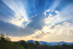 Beam of light and the clouds. Beautiful beam of light and the clouds Stock Photos