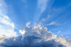 Beam of light and the clouds. With blue sky Stock Photos