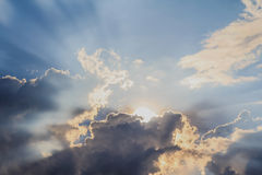 Beam of light and the clouds Royalty Free Stock Image