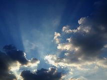 Beam of light clouds Royalty Free Stock Photography
