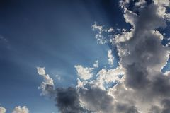 Beam of light and the clouds. Beam of light and the dark clouds Royalty Free Stock Photo
