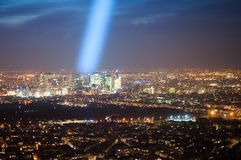 Beam of Light over Paris Financial Center Royalty Free Stock Photo