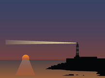 Beam of a lighthouse at sunset. Vector illustration royalty free illustration