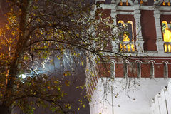 Beam. Moscow, Novodevichy Convent. Fortress wall. Autumn in the city Stock Photography
