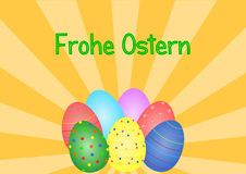 Beam pattern in orange with Easter eggs and lettering in German Stock Photos