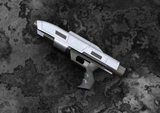 Beam Pistol. 3D digital render of a science fiction beam pistol on a dark background Stock Photo