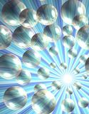 Beam of rays abstract background with bubbles Stock Photography