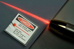 Beam of Red Laser Light Stock Photos