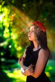 Beam of the sun at the face of goth model Royalty Free Stock Photo