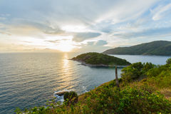 Beam of sunset. View of sunset and island from the hill Royalty Free Stock Image