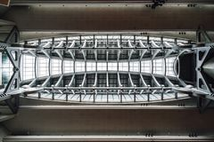Beam super structure ceiling with window glass inside skyscraper in Taipei, Taiwan. Modern and custom structure detail.  royalty free stock images