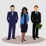 Beambten, bureaumensen, bedrijfsmensen, bedrijfsvrouw en twee bedrijfsman Vector illustratie vector illustratie