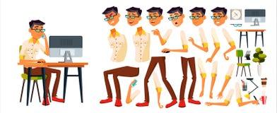 Beambtevector Koreaans, Thais, Vietnamees De Reeks van de animatieverwezenlijking Gezichtsemoties, Diverse Gebaren bureau stock illustratie