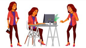 Beambtevector Vrouw Professionele Ambtenaar, Bediende Volwassen Bedrijfswijfje Arabische, Saoedi-arabische Dame Divers Face Emoti vector illustratie
