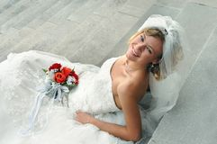 Beaming Blond Bride Stock Photo