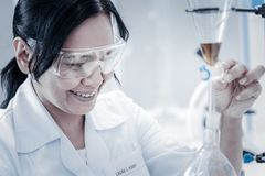 Beaming female chemist monitoring experiment in lab. Successful experiment. Selective focus on a radiant mature woman in safety glasses grinning broadly while stock image