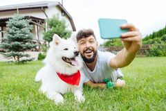 Beaming handsome man making selfie with his white husky. Selfie time. Beaming handsome man smiling broadly while making memorable selfie with his white husky stock photos
