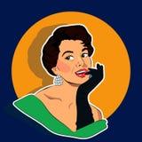 Beaming Woman - Retro Clip Art vector illustration
