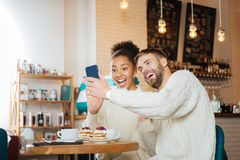 Beaming young couple making funny selfie together. Funny selfie. Beaming young couple wearing the same knitted sweaters making funny selfie together stock photos