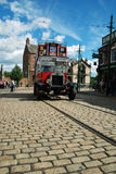 Beamish bus. Open-topped bus on a street in the Old Town at award-winning Beamish open air museum in north-eastern England