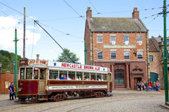 Beamish Tram. BEAMISH, UK - JULY 27, 2012: A tram in the high street of the Edwardian town that forms part of Beamish Museum in County Durham, England. Beamish Stock Photos