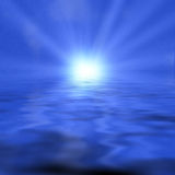 Beams. Of light over water Royalty Free Stock Images