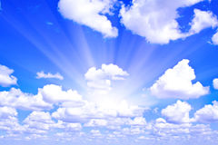 Beams through clouds Stock Photo