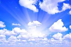 Beams through clouds Stock Photo