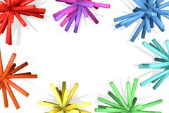 Beams of colored tubes around the white background. Stock Photo
