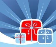 Beams and gift boxes Royalty Free Stock Photos