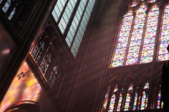 Beams of light. Beams of colourful light inside Cologne cathedral Stock Photography