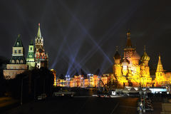Beams of Light Over Red Square in Gold Royalty Free Stock Photo