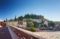 Beams morning sun bridge Ponto Pietra river Adige Italy Verona Royalty Free Stock Photos