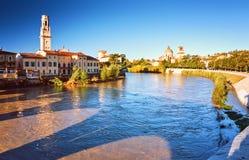 Beams morning sun bridge Ponto Pietra river Adige Italy Verona Stock Image