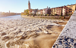 Beams morning sun bridge Ponto Pietra river Adige Italy Verona Stock Photos