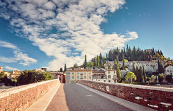 Beams morning sun bridge Ponto Pietra river Adige Italy Verona Royalty Free Stock Photo