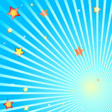 Beams and stars. On a blue background Stock Images