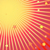 Beams and stars on background. Beams and stars on red and yellow background Stock Image