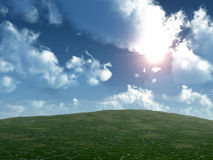 Beams of the sun and land Royalty Free Stock Images