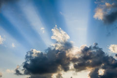 Beams of Sunlight. Coming among clouds stock image